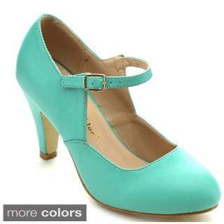 Chase & Chloe Kimmy-22 Women's Round Toe Mid Heel Mary Jane Style Dress Heels