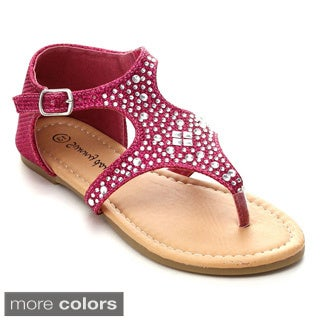 Sunny Day Sandra-19 Girls' Rhinestone T-Strap Cut Out Flat Sandals