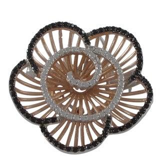 Sterling Silver Cubic Zirconia Radial Flower Brooch