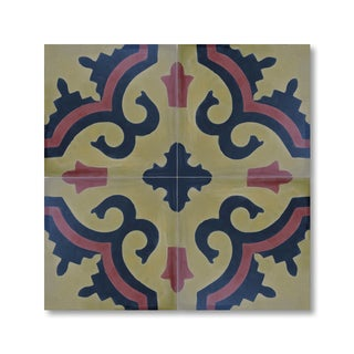 Tanger Red and Yellow Handmade Cement and Granite Moroccan Tile 8-inch Floor and Wall Tile (Pack of 12)