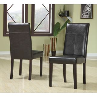 Chocolate Vegan Leather Dining Chair (Set of 2)