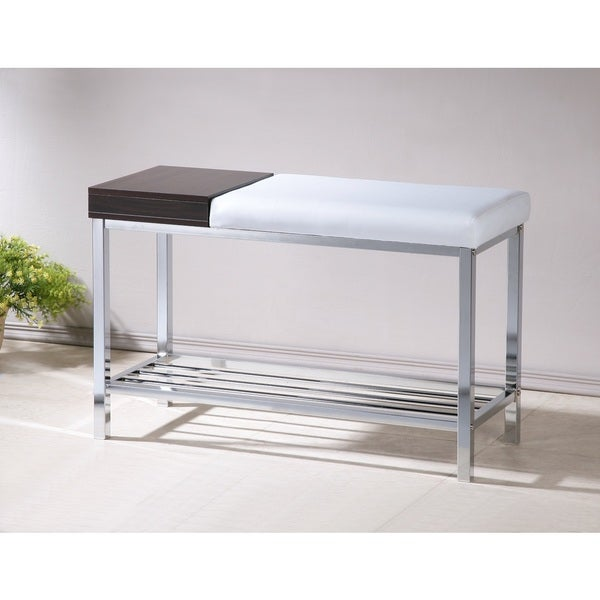 white bonded leather chrome shoe storage bench overstock