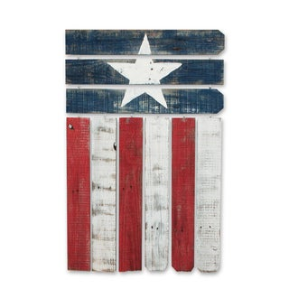 Natural Reclaimed Wood Americana Flag Wall Decor