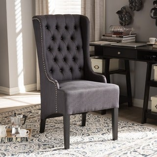 Keats Contemporary Grey Fabric Upholstered Button Tufted And Nail Heads Trimmed Arm Chair