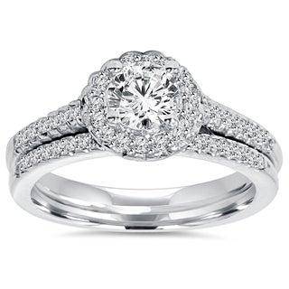 Bliss 14k White Gold 3/4 ct TDW Diamond Halo Engagement And Matching Wedding Ring Set (I-J, I1-I2)