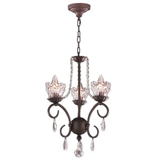 Gardenia Collection 3-light Dark Bronze Finish and Clear Crystal Chandelier