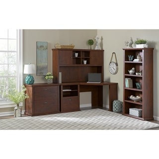 Bush Furniture Yorktown Collection Corner Desk with Hutch, Lateral File and Bookcase