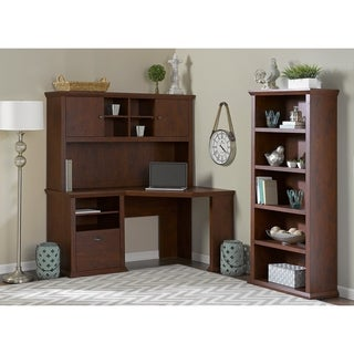 Bush Furniture Yorktown Collection Corner Desk with Hutch and Bookcase