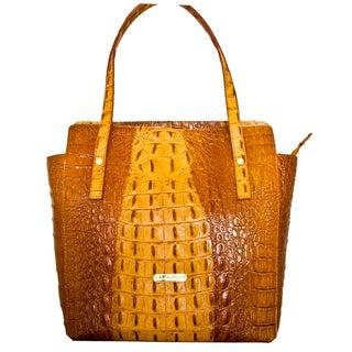 Leatherbay Italian Leather Pavia Croc Print Handbag