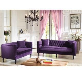 Flynn French Inspired Purple Velvet Upholstered Loveseat And Sofa Set