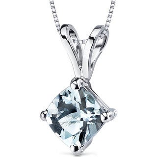 Oravo 14k White Gold Cushion-cut Gemstone Pendant