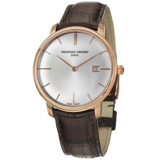 Frederique Constant Men's 'Slim Line' Silver Dial Brown Leather Strap Rose Gold Watch