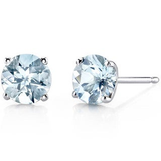 Oravo 14k White Gold Round-cut Gemstone Stud Earrings