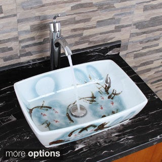 Elimax's 2033+882002 Square Oriental Art Style Porcelain Ceramic Bathroom Vessel Sink with Faucet Combo