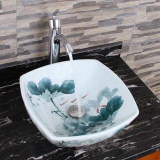 Elimax's 2027+882002 Square Oriental Lotus Style Porcelain Ceramic Bathroom Vessel Sink with Faucet Combo