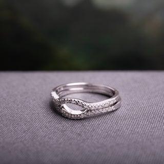 Haylee Jewels Sterling Silver 1/10ct TDW Diamond Contour Wedding Band Set (G-H, I2-I3)