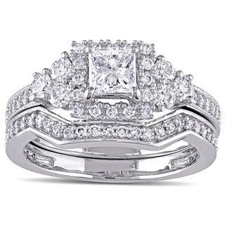 Miadora 14k White Gold 1 1/4ct TDW Princess-cut Diamond Halo Bridal Ring Set (G-H,I1-I2)