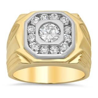 14k Two-tone Gold Men's 2 1/4ct TDW Certified Diamond Wedding Ring (H, SI2)