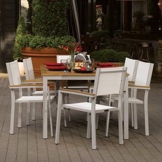 Oxford Garden Travira 7-piece 63 inch Table Set, Natural Sling - Teak Armcaps
