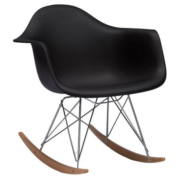 Baxton studio dario black plastic mid century modern rocking chair