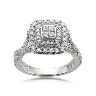 14k White Gold 1ct TDW Composite Halo White Diamond Engagement Ring (H-I, SI2-SI3)