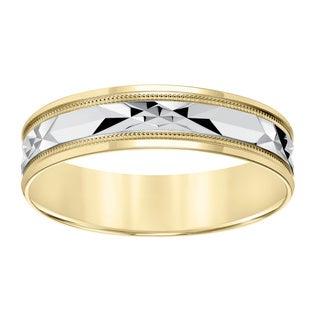 Cambridge 10k Yellow Gold Men's Milgrain Engraved Wedding Band