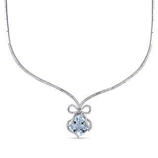 Miadora 14k White Gold Aquamarine and 1 2/5ct TDW Diamond Necklace (G-H, SI1-SI2)