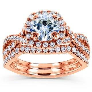Annello 14k Rose Gold Moissanite and 3/4ct TDW Diamond Bridal Rings Set (G-H, I1-I2)