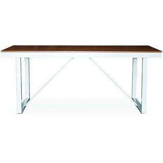 Somette Sheridan Rectangular Resin Slat White Aluminum Patio Dining Table