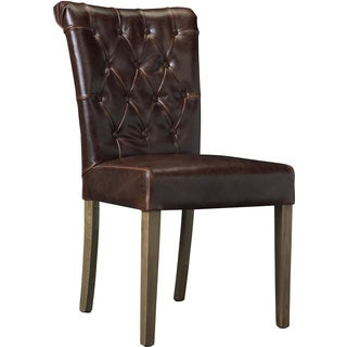 Somette Gresham Chocolate Leather Hand Tufted Dining Room Chair (Set of 2)