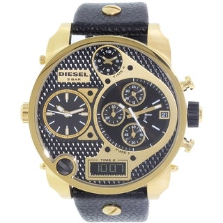 Diesel Men's Mr. Daddy DZ7323 Black Leather Quartz Watch