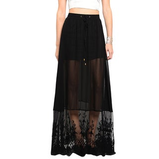 Shop the Trends Women's Chiffon Floral Applique Maxi Skirt