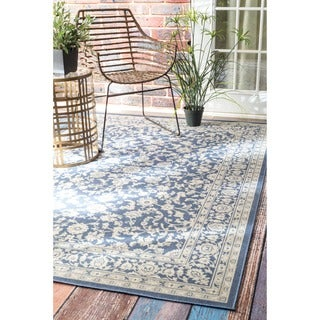 nuLOOM Traditional Modern Indoor/ Outdoor Blue Porch Rug (8'10 x 11'10)