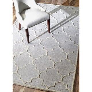 nuLOOM Contemporary Trellis Wool Silver Rug (7'6 x 9'6)