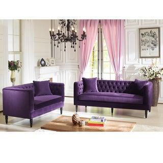 Flynn French Inspired Purple Velvet Upholstered Sofa