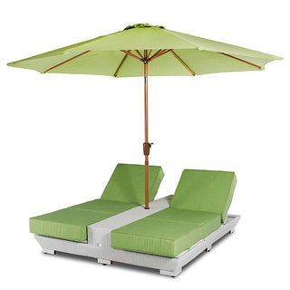 Renava Gemini Two Lounge Chair Built-in Base and Umbrella Patio Set