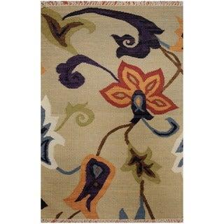 Herat Oriental Indo Hand-woven Vegetable Dye Tribal Kilim Light Green/ Orange Wool Rug (4'7 x 6'5)
