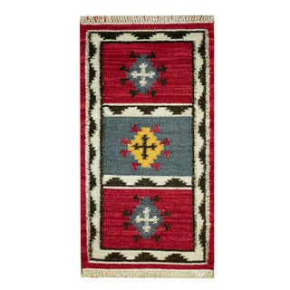 Herat Oriental Indo Hand-woven Vegetable Dye Tribal Kilim Red/ Ivory Wool Rug (2'3 x 4'6)