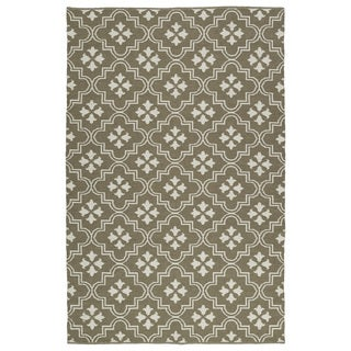 Indoor/Outdoor Laguna Dark Taupe and Ivory Tiles Flat-Weave Rug (9'0 x 12'0)