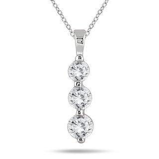 14k White Gold 1ct TDW Diamond Graduated 3-stone Pendant (I-J, I2-I3)