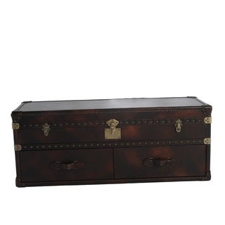Lazzaro Leather General Two Drawer Leather Cocktail Table