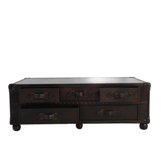 Lazzaro Leather General Ten Drawer Leather Steamer Cocktail Table
