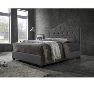 Baxton Studio Juliet Contemporary Espresso King Arch Tufted Fabric Grey Upholstered Bed