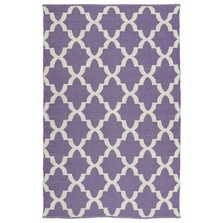 Indoor/Outdoor Laguna Lilac and Ivory Trellis Flat-Weave Rug (8'0 x 10'0)