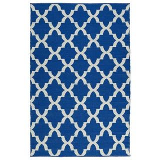 Indoor/Outdoor Laguna Navy and Ivory Trellis Flat-Weave Rug (9'0 x 12'0)