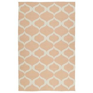 Indoor/Outdoor Laguna Pink and Ivory Geo Flat-Weave Rug (9'0 x 12'0)