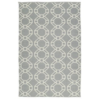 Indoor/Outdoor Laguna Grey and Ivory Geo Flat-Weave Rug (9'0 x 12'0)
