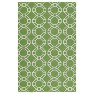 Indoor/Outdoor Laguna Lime and Ivory Geo Flat-Weave Rug (9'0 x 12'0)