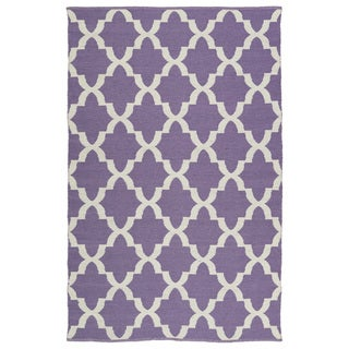 Indoor/Outdoor Laguna Lilac and Ivory Trellis Flat-Weave Rug (9'0 x 12'0)