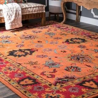 "nuLOOM Handmade Overdyed Traditional Orange Wool Rug (8'6"" x 11'6"")"